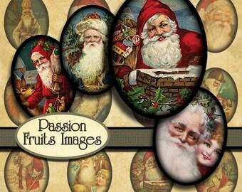 Vintage Santa Claus Images 22mm x 30mm Ovals Christmas Digital Collage Sheet-- Instant Download