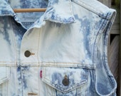 LEVI vintage bleach splatter upcycled punk rock denim jean jacket vest 38 SMALL