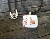 Snow Rabbit: Fused Glass Miniature Art in White