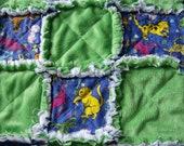 Cat Themed Handmade Rag Quilt Blanket