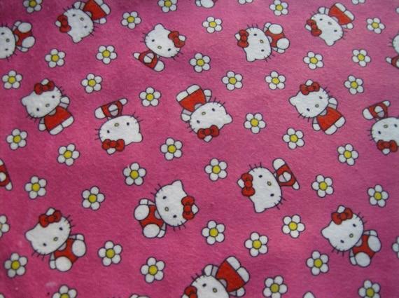 Hello Kitty Pink Flannel Fabric - 2 pieces DESTASH