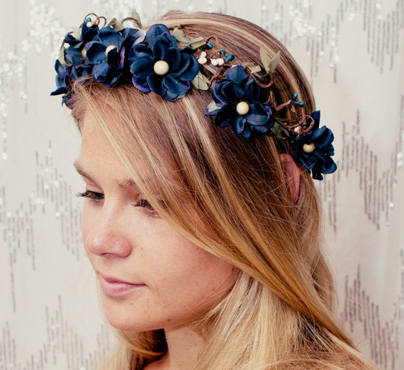 Twilight Blue Flower Fairy Woodland Crown