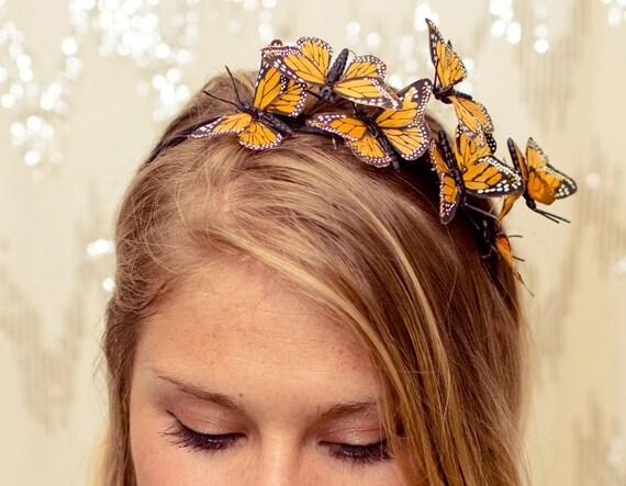 Yellow Butterfly Woodland Headband - fairy,princess,forest,fantasy,fairytale