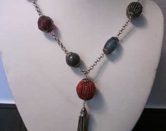 Vintage Silver Tone Necklace with Multi-Colored Beads & Silver Chain Dangle