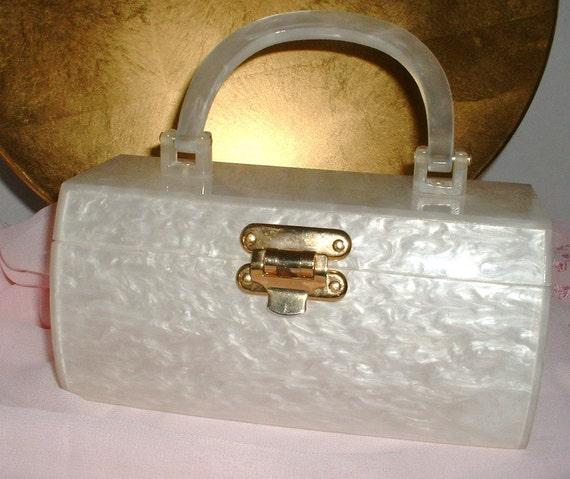 Vintage Lucite Box Purse White Pearlized Marbleized Lucite1940