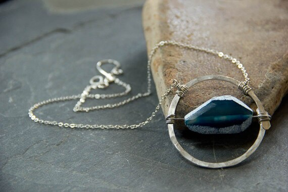 SALE Dramatic Silver Circle and Agate Slice Necklace