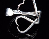 Unique Recycled Silver Fork Bracelet in Original Classic Double Heart Design