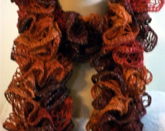 Knit Scarf Woman / Lacy and Ruffled Scarf /Shades of Orange /Ready to Ship