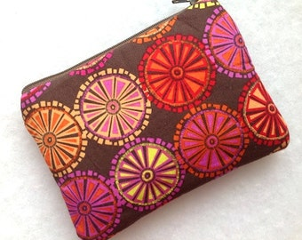 Zipper Pouch,Change Purse,Small Gadget Case,Card Case,Padded Pouch-Floral Circles- Brown Fuchsia Gold
