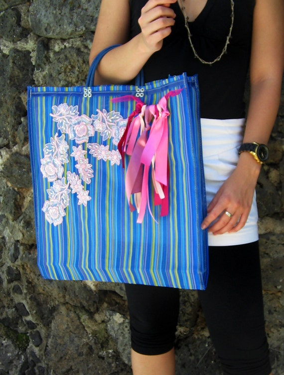 Big Colorful Mexican Net / Mesh Bag / tote / market bag (PINK and BLUE)