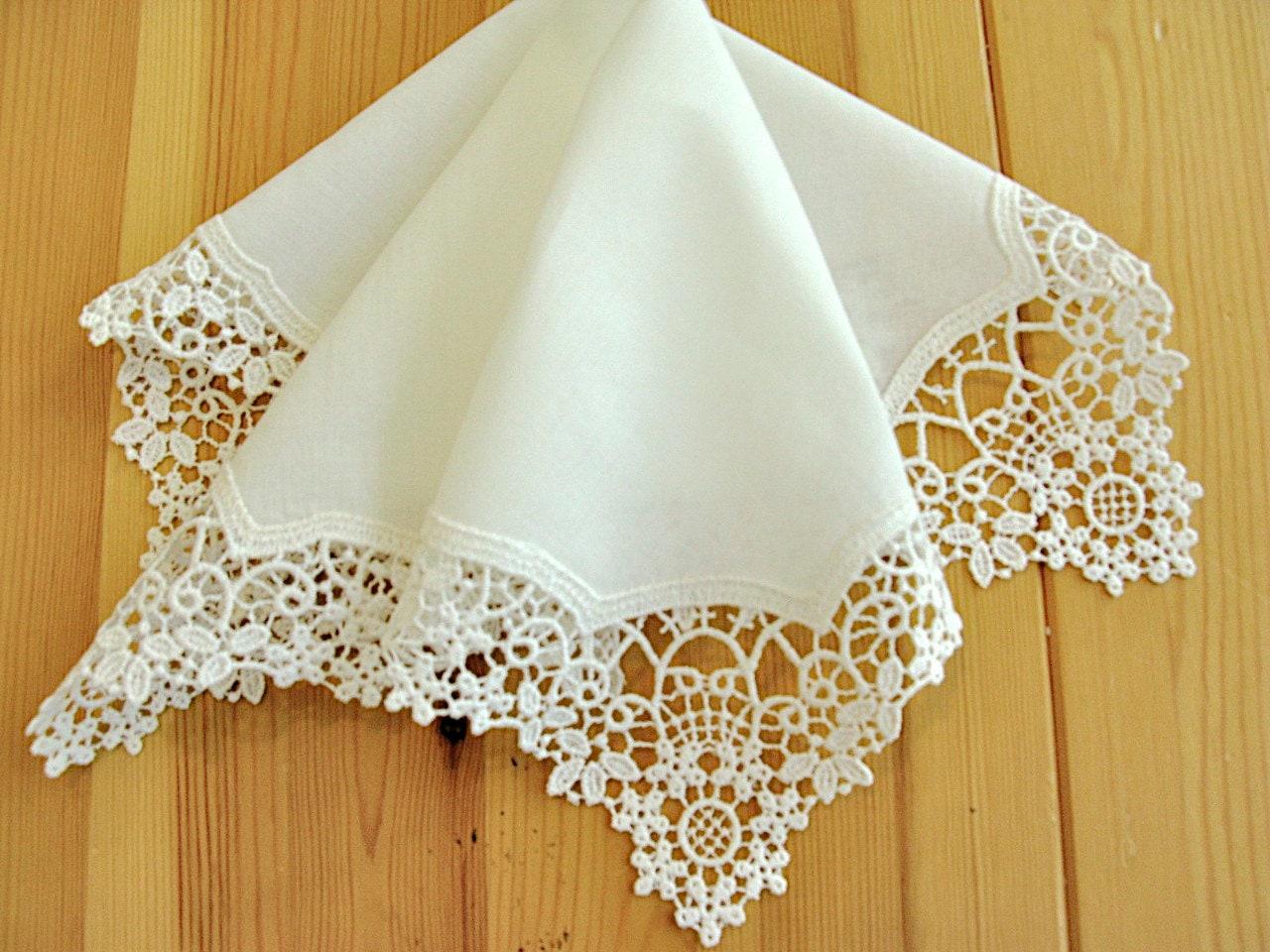 Wedding Handkerchief Cream Color German Plauen Lace By