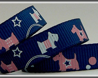 5 Yards SCOTTIE DOGS on DENIM 3/8 Grosgrain Ribbon (other colors also available)