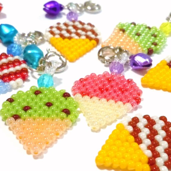 different flavor ice cream cone seed bead charms handbeaded