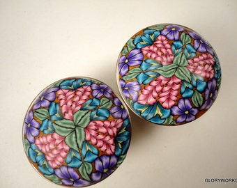Round Metal Cabinet Knobs  .Drawer knobs Lavender, Violet and Blush Bathroom knobs SET of SIX-  Polymer Clay
