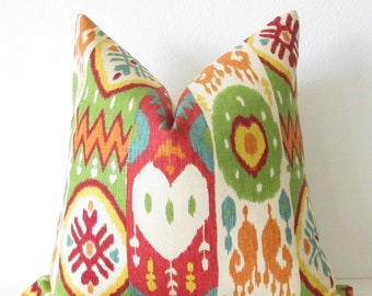 Sale - Ikat tribal stripe red turquoise green colorful pillow cover