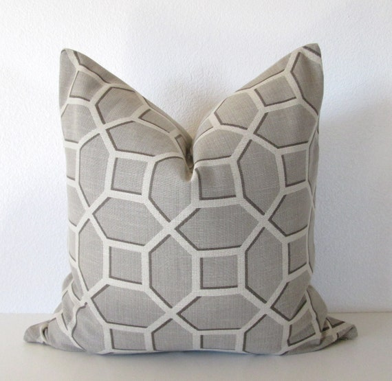Light Gray Decorative Pillow : Decorative pillow cover 20x20 Gray Light Grey Cream