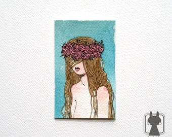 Lana Del Rey inspired watercolor illustration - girl in garland - The Hair and Roses collection