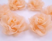 6 Beige Satin Organza Mini Rose Flower Applique for Embellishment, Headband, Jewelry Making, DIY Craft, Corsage, Bridal, Scrapbooking