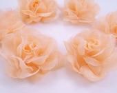 6 Beige Satin Organza Mini Rose Flower Applique for Embellishment, Headband, Jewelry Making, DIY Craft, Corsage, Bridal, Scrapbooking