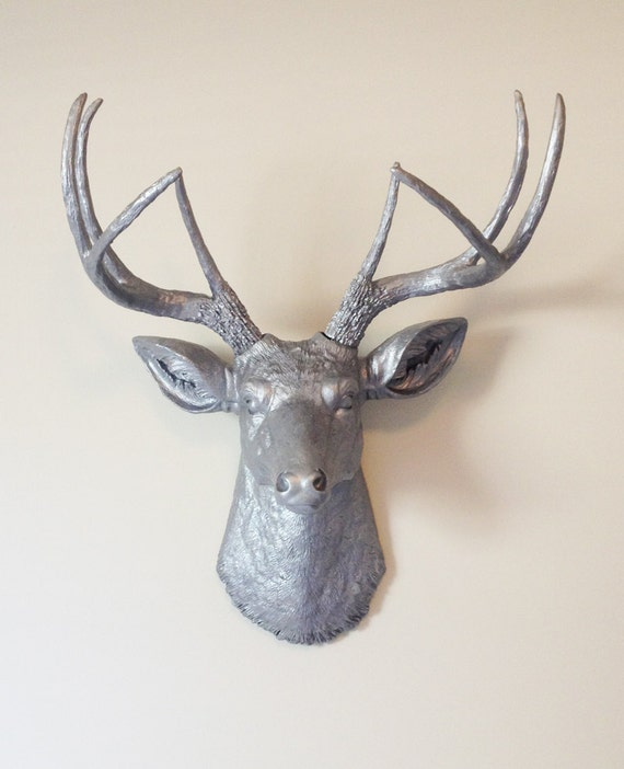 Items similar to silver deer head wall mount on etsy - Silver stag head wall mount ...