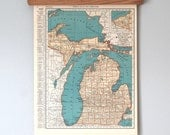 1930s Antique State Map of Michigan and Massachusetts