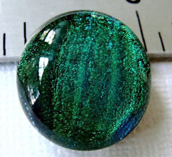 Dichroic Fused Glass Cabochon 17 mm Blue Green Beauty