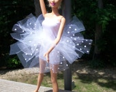 barbie doll tutu white polka dot tulle skirt with spandex underdress
