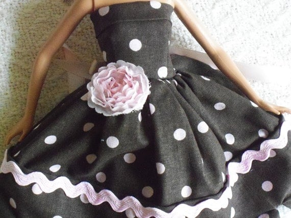 barbie doll dress chocolate/pink rose scalloped hem