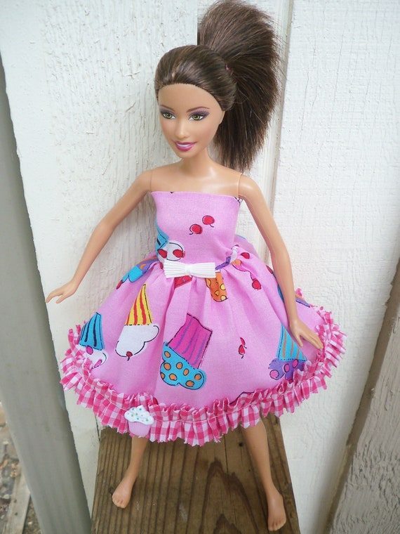 barbie dress pink cupcakes ruffle bow