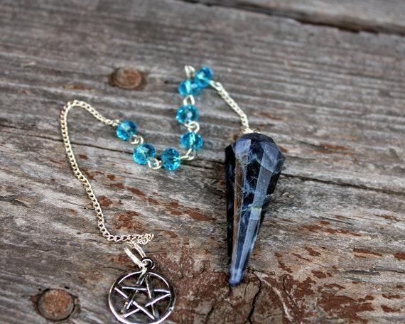 Mystical Black and Royal Blue Sodalite Pendulum