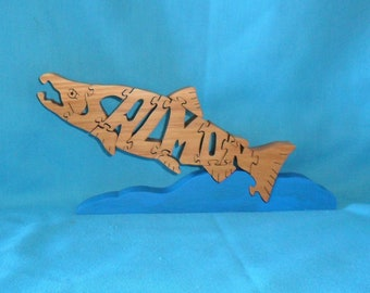Salmon Fish Scroll Saw Wooden Puzzle