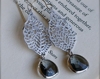 India Inspired Sterling Earrings with Smokey Grey Glass