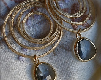 Grey Gold Chandelier Circle Earrings with Smokey Topaz Faceted Glass-Bridesmaid Jewelry