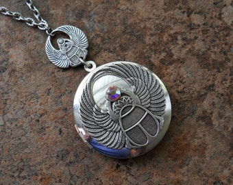 Double Scarab Silver Egyptian Inspired Locket