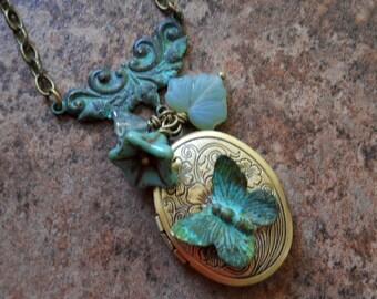 Verdigris Butterfly Locket in Brass, Brass Butterfly Locket