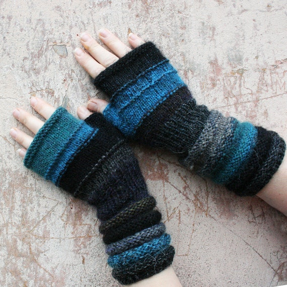 Twilight Fingerless Unmatched Hand Knit Mittens striped with upcycled yarn and kid mohair