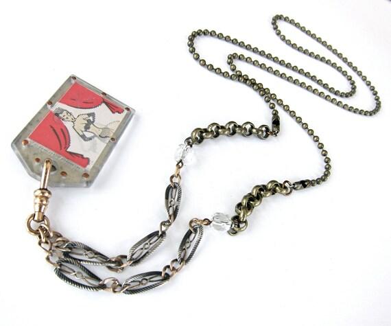 "stripper lenticular & vintage tin assemblage necklace ""Tin-Tillation"""
