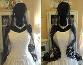 SALE Victorian Gothic Black Beaded Sequined French Alencon Lace Mantilla, Mourning Costume or Bridal Veil 38x50 Oval Cut