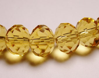 Crystal faceted rondelle -  20 pcs - 12mm by 9mm - AA quality - yellow topaz
