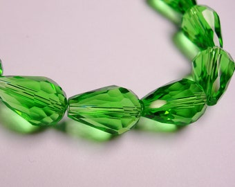 Faceted teardrop crystal  beads 12 pcs 14mm by 9mm - vivid peridot green
