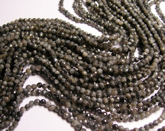 Larvikite -  black labradorite - 4mm faceted  -  A Quality - full strand - 92 pcs - RFG804