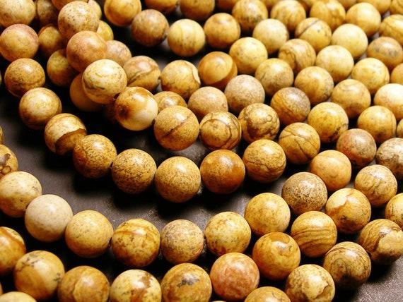 Picture Jasper - 10 mm round beads -1 full strand - 38 beads