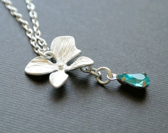 Silver Orchid Necklace, Orchid Jewelry, Floral Necklace, Bridesmaid Necklace,