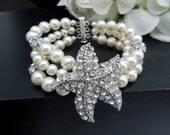 Bridal Bracelet,Pearl Bracelet,Ivory or White Pearls,Starfish Rhinestone Bracelet,Beach Wedding,Statement Bracelet,Bridal Cuff,Pearl,ARIEL