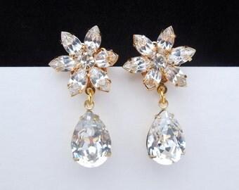 Swarovski bridal Stud Earrings, Crystal Bridal Earrings, Statement Bridal Earrings, Teardrop bridal earrings, crystal earrings, ANNA