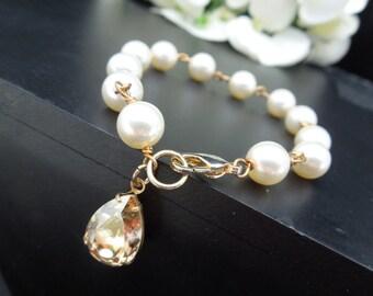 ivory swarovski pearl and crystal Bracelet Statement Bridal Bracelet Bridal Cuff Wedding Rhinestone Bracelet swarovski crystal bracelet ARIA