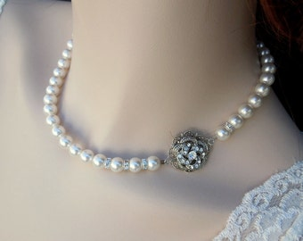 bridal pearl and crystal necklace, Statement Bridal necklace, Wedding Rhinestone necklace, swarovski crystal and pearl necklace, ROSELANI