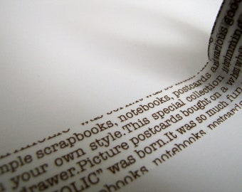 Washi Tape-Masking Tape-Single Roll-Chocolate Brown and White Text Tape
