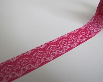 Washi Tape-Masking Tape-Single Roll-Bright Pink Lace Tape