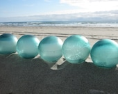 Authentic Glass Fishing Floats - Collection of 5, Alaska Beachcombed, Shades of Teal Blue